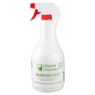 Milben-Ex-Green - 1000ml Milbenspray auf pflanzlicher Basis - gegen Vogelmilben und Parasiten bei Hühnern, Wachteln und Tauben - Effektive Milbenbekämpfung 1